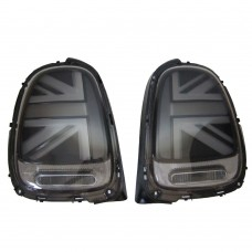 Set achterlichten, zwart, LED, Union Jack LCI stijl, MINI F55, F56, F57, ond.nr. 7297433, 63217297433, 7297434, 63217297434